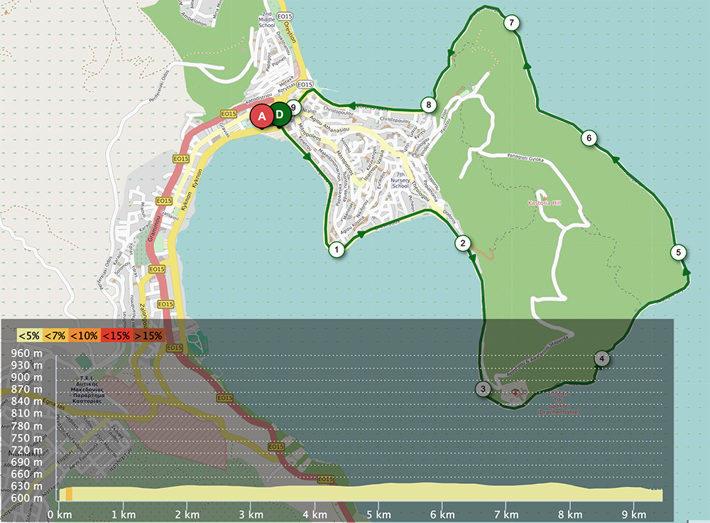 Kastoria Triathlon Running Route 10km 2